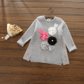 R100955 2016 Autumn Baby Girl Sweater Solid Appliques Flowers Girl Pullover Knitted Sweatercoat Girl Clothes Lolita