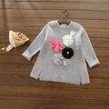 R100955 2016 Otoño Niña Suéter Sólido Apliques de Flores Niña Jersey de Punto Sweatercoat Niña Ropa Lolita