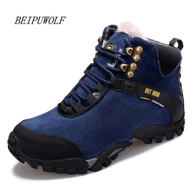 2016 Winter Genuine Leather Warm Hiking Shoes Men and Women Outdoor Climbing Boots High Top Mountain Trekking Shoes for Lovers big size 46 men s winter sneakers plush ankle boots outdoor high top cotton boots hiking shoes men non slip work mountain shoes