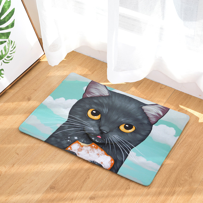 Animal Shorthair Cat Entry Door Food Bread Mat Plush Garfield Home Blue Sky Rug White Clouds Flower Houseware Coral Fleece Photo image