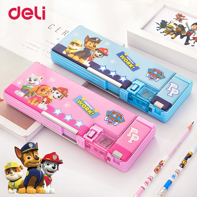 Deli Paw patrol PVC environmental two-color student pencil box Multifunction storage box double door double open stationery gift цены