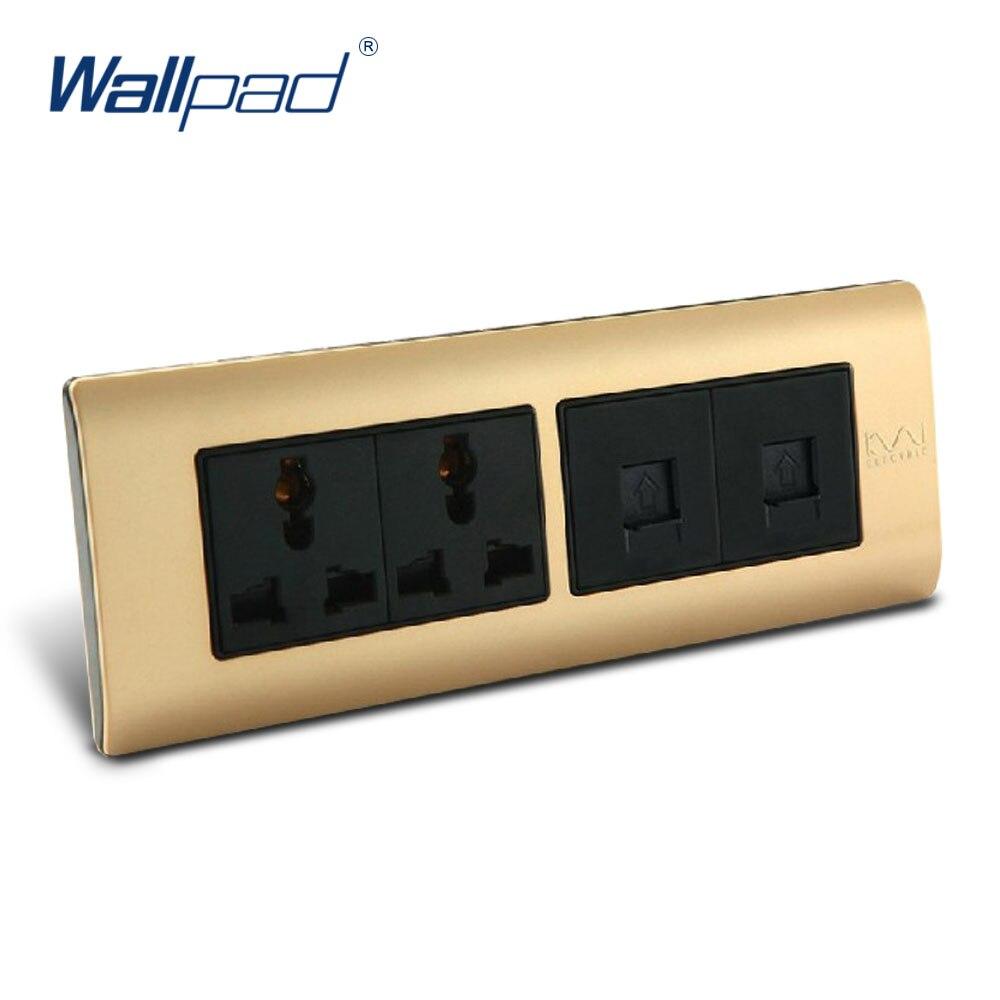 TEL And Computer 6 Pin Socket Wallpad Luxury Wall Switch Panel C5-Series 197*72mm 10A 110~250V free shipping wallpad luxury wall switch panel 6 gang 2 way switch plug socket 197 72mm 10a 110 250v