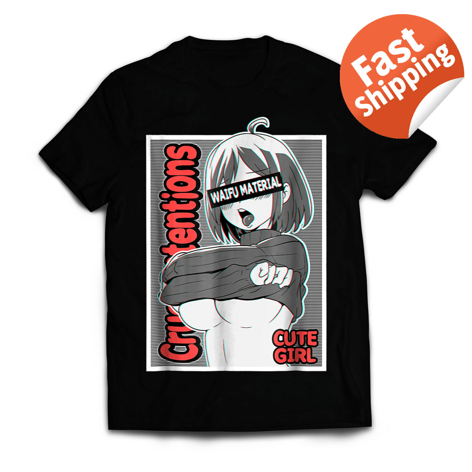 Anime Girls T-Shirt Ecchi Waifu Material, Lewd Otaku 100 % Cotton T Shirt For Men Design Tops Harajuku Funny Tee Shirts