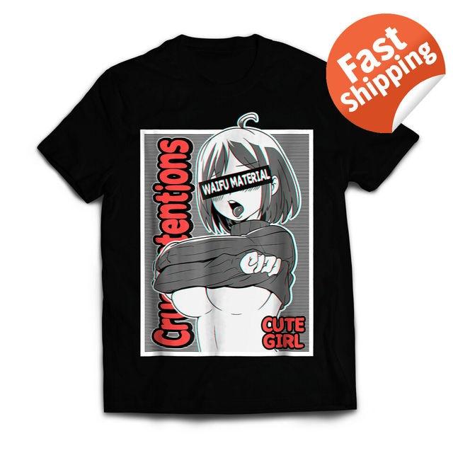 Anime Girls T Shirt Ecchi Waifu Material, Lewd Otaku 100 % Cotton T Shirt for Men Design Tops Harajuku Funny Tee Shirts