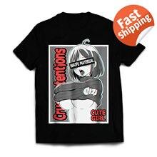 Dziewczyny Anime koszulka Ecchi Waifu materiał, sprośne Otaku 100% bawełna T Shirt dla mężczyzn projekt topy Harajuku zabawna koszulka koszule