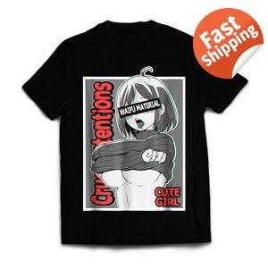 Image 1 - אנימה בנות חולצה Ecchi Waifu חומר, זימה אוטאקו 100% כותנה T חולצה לגברים עיצוב חולצות Harajuku מצחיק טי חולצות