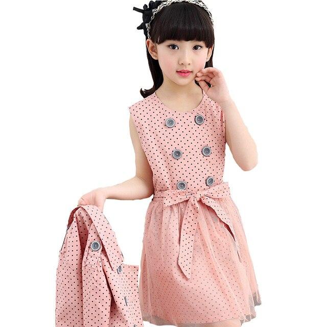 Женские костюмы 2017 с длинными рукавами в горошек пальто + рукавов лук dress из двух частей детские наборы для девочки принцесса наборы