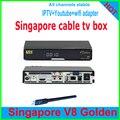 Últimas 2017 Singapur tv box V8 de ORO caja de cable HD cuadro negro reloj todos starhub chnls con 2 puertos 2xusb c1 c801 c608 qboxhd amiko
