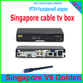 O mais recente 2017 caixa de tv Cingapura caixa de cabo V8 DOURADO HD caixa preta assista todos starhub chnls com 2 portas xUSB c1 c801 c608 qbox amiko