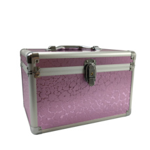 Professional Aluminium Makeup Case Pink Lighting  Portable Travel Jewelry Train Case Cosmetic Organizer Case Box With Mirror