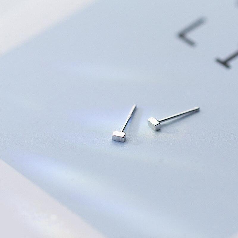 MloveAcc 925 Sterling Silver Minimalist Square 2mm*3mm Ear Stud Earrings Fashion Men Women Daily Geometric Gift Jewelry