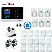 SmartYIBA EN RU ES PL DE FE Switchable Wireless Home Security WIFI GSM GPRS Alarm system APP Remote Control RFID with ip camera