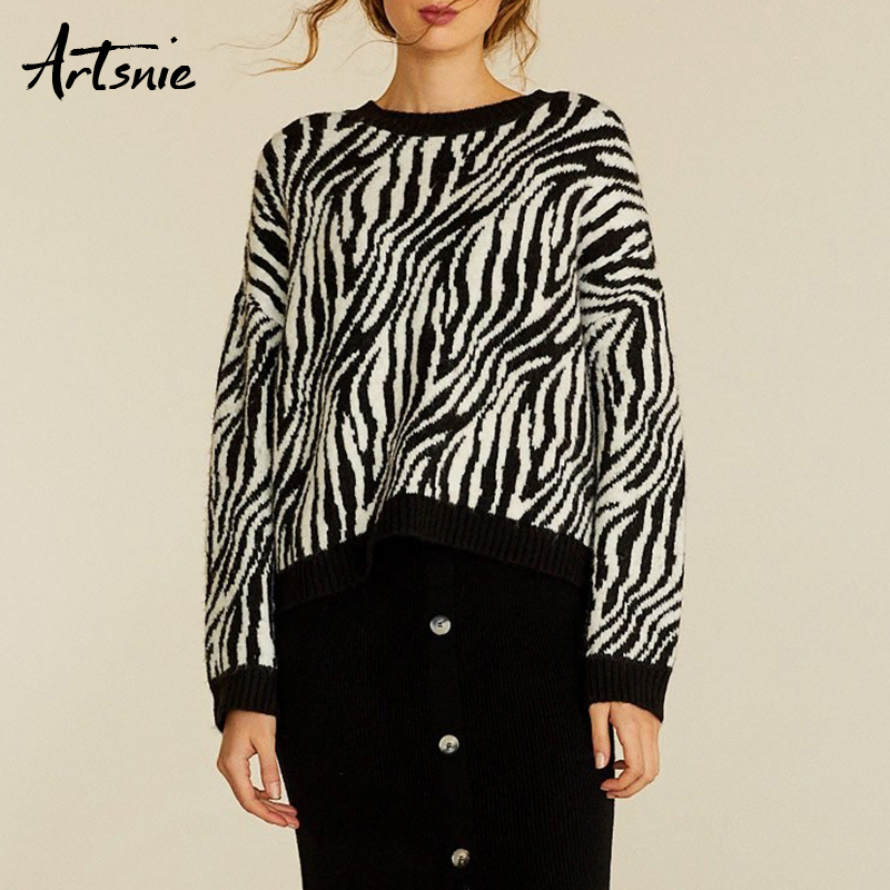Artsnie Zebra Winter 2018 Pull Femme Hiver Sweater Women O Neck Long Sleeve Knitted Pullovers Jumper Autumn Knit Sweaters Female