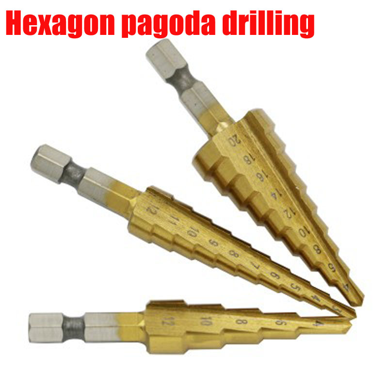English step drill/drill pagoda/stepped drill/hex shank 3/16- /2, 1/4-3/4, 1/ 8-1/2  3 pcs / lot hss high speed steel 5pcs step drill bit set hss cobalt multiple hole 50 sizes sae step drills 1 4 1 3 8 3 16 7 8 1 4 3 4 1 8 1 2 3 16 1 2 drill bits