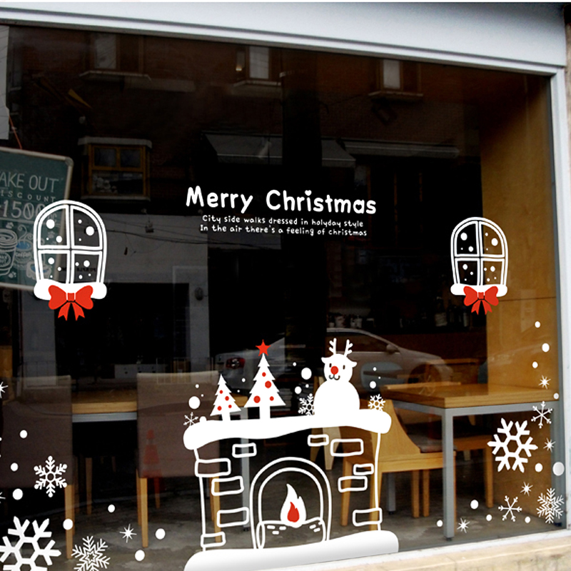 DCTAL Christmas tree glass window wall sticker decal home decor shop decoration X mas stickers xmas090