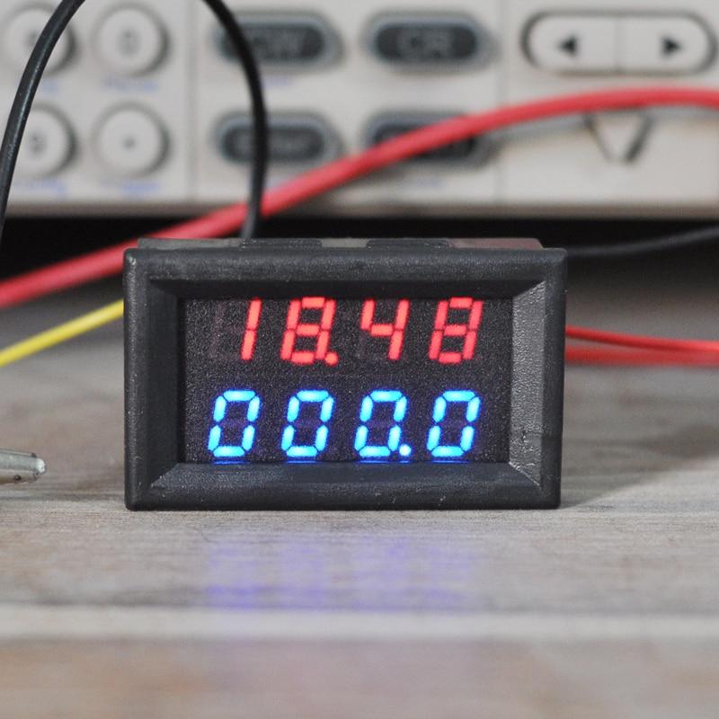 Aideepen 4 Bits 0-33V 3A DC Voltmeter Ammeter Digital LED Dual Display Amp Volt Meter Amperage Current Meter Tester Panel Red/&Blue