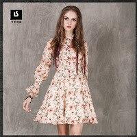 2017 Новый Печать Свинг Vintage ремень с длинными рукавами Boho платье пикантные вечерние цветочные платья