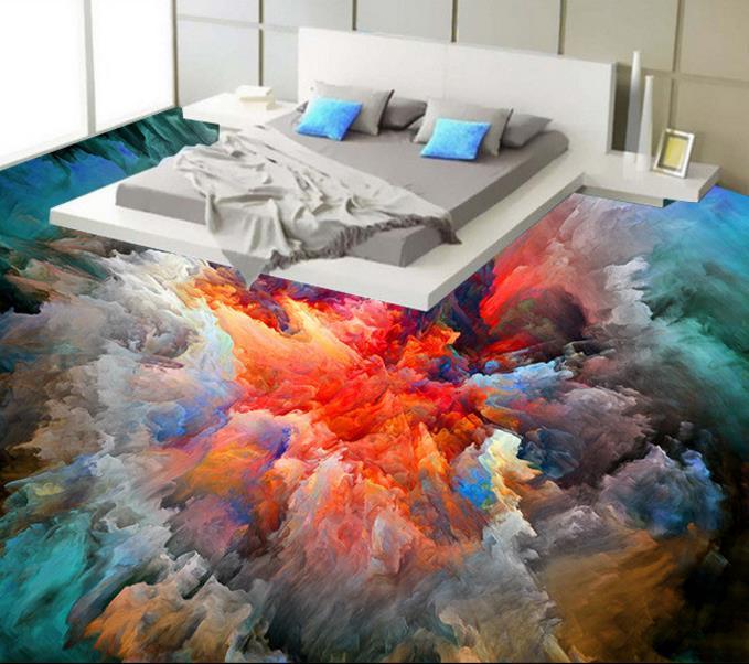 ФОТО Modern 3D floor tiles custom waterproof self adhesive 3d floor murals clouds for bathroom living room