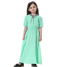 Arabic Children Abaya Dresses Muslim Girls Kaftan Islamic Short-sleeved Princess