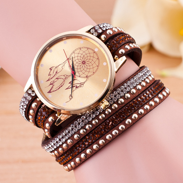 Fashion crystal Dreamcatcher Friendship Montre Femme Bracelet watch Women Handma