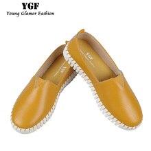 YGF женские Квартиры Обувь Новое Прибытие Handmade Женщины Сплит Кожаные Ботинки Скольжения На Твердых Удобные Мягкие Женские мокасины Дамы обувь