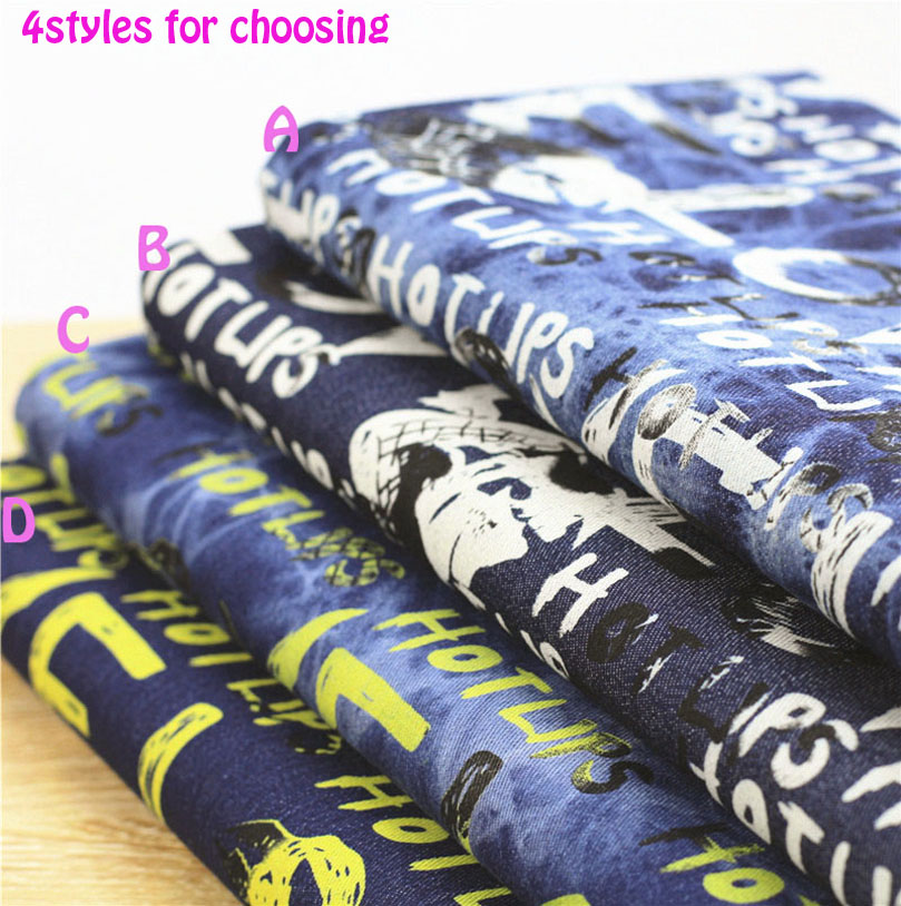 Denim Fabric140 * 50cm1pc100% Βαμβακερό ύφασμα Jeans Αγάπη Επιστολή Εκτύπωση Stretch Πάχος Δερμάτινο ύφασμα για Diy Ράψιμο Τζιν & Φόρεμα & εξωτερικό ένδυμα