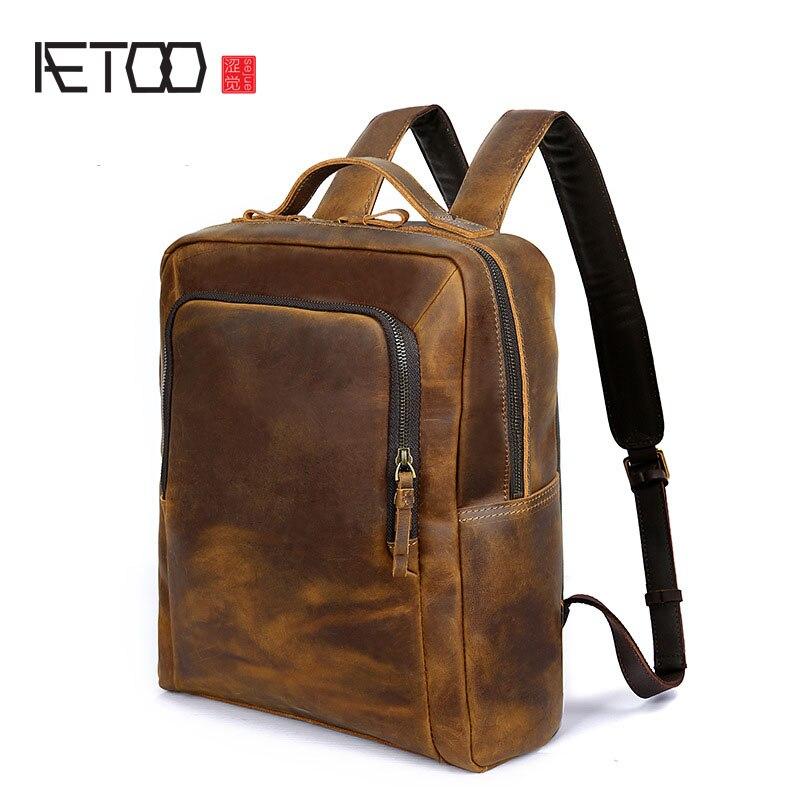 AETOO Men's shoulders foreskin backpack leather shoulder computer bag crazy horse leather man bag retro
