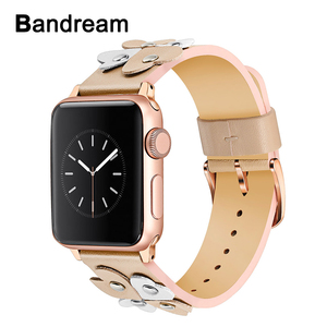 Image 1 - Bandream Women Leather Watchband for iWatch Apple Watch 5 4 3 2 1 44mm 40mm 42mm 38mm Wrist Band Female Strap Rose Gold Silver