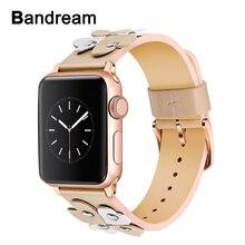Bandream נשים עור רצועת השעון עבור iWatch אפל שעון 5 4 3 2 1 44mm 40mm 42mm 38mm להקת יד נשי רצועת רוז זהב כסף