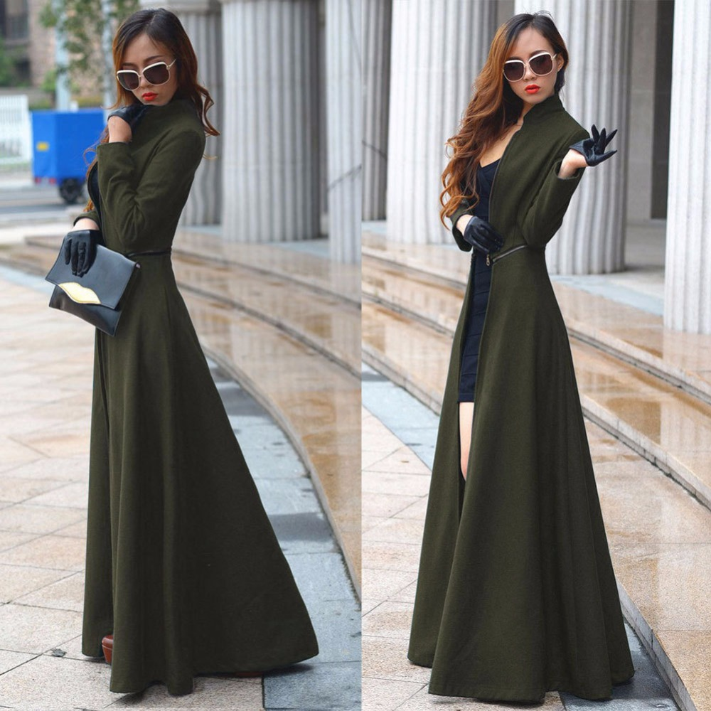 2016 Autumn Winter Long Cashmere Trench Coat Europe and America Street Fashion Open fork Slim Solid