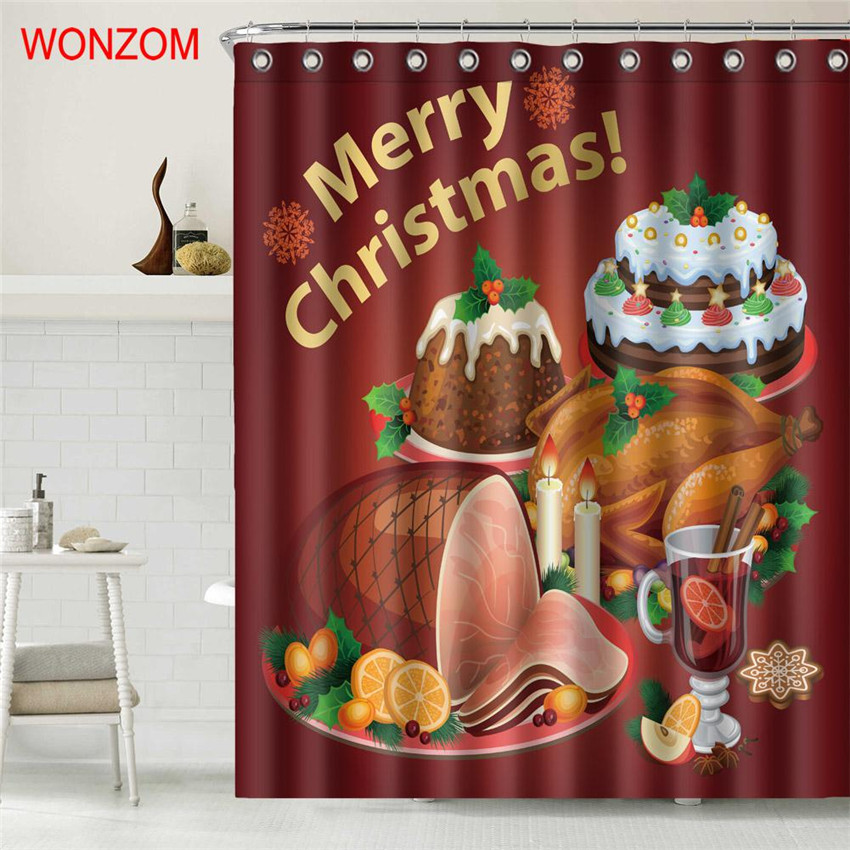 WONZOM Merry Christmas Shower Curtain Bathroom Decor Modern Waterproof Curtains For Bathroom Santa Claus Cortina De Bano 2018