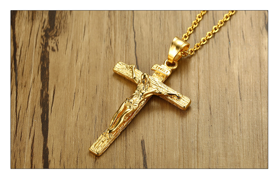 Meaeguet Vintage Cross INRI Crucifix Jesus Pendant & Necklace For Men Women Stainless Steel Christian Jewelry Gifts- 24 Chain (3)