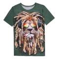 Yeezus Shirt Men's Funny Shirt Fashion Universe Lion Printing 3D Print T-shirt Nightclub Sexy Short Spoof T-shirt for Men Makeup