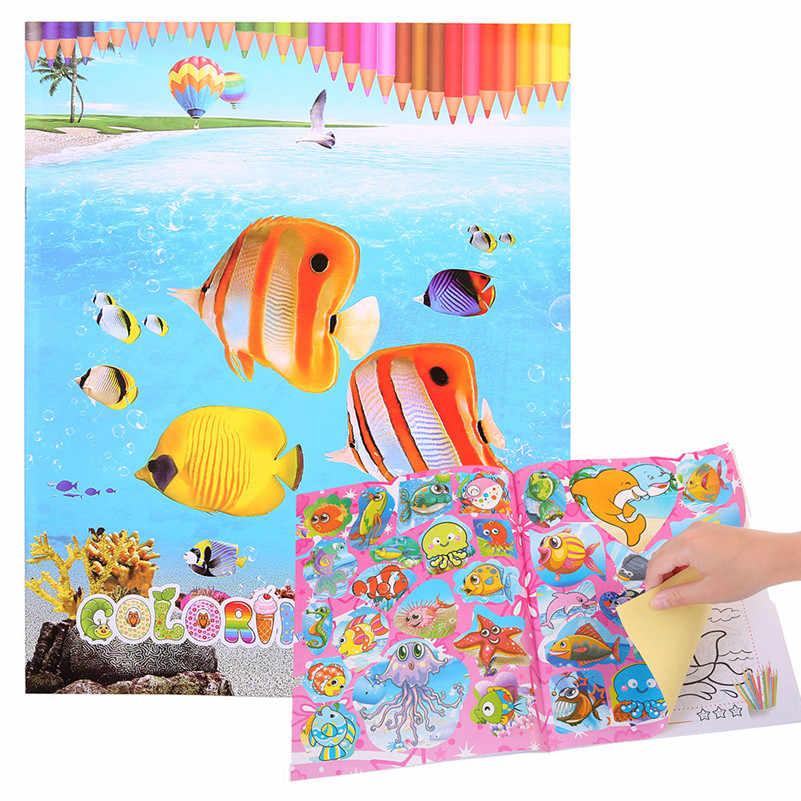 10 หน้า Ocean สวน Secret Garden วาดเด็ก DIY ปริศนาสำหรับสมุดระบายสีของเล่นเด็กเด็กเด็ก A1