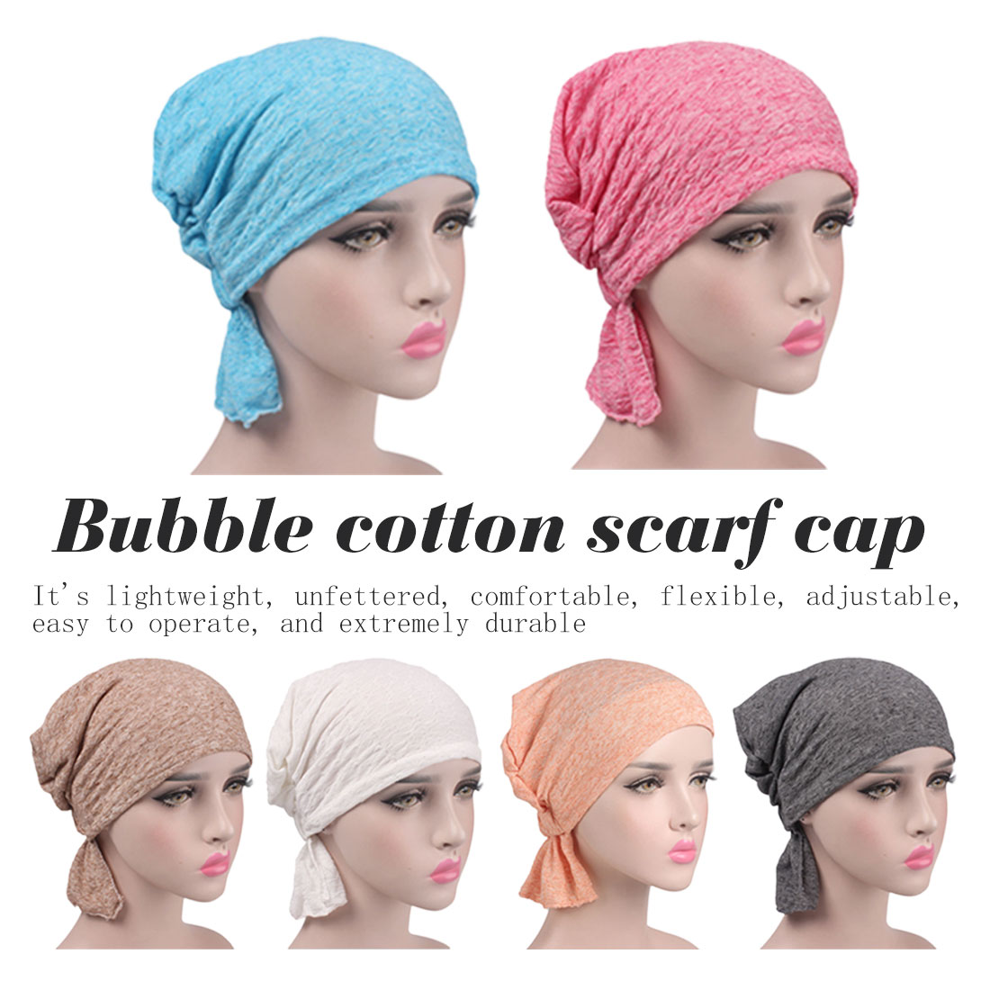 1PC New Women Elastic Turban Hat Muslim Hijab Islamic Jersey Beads Cancer Chemo Cap Ladies Hijab Stretch Head Wrap Head Scarf