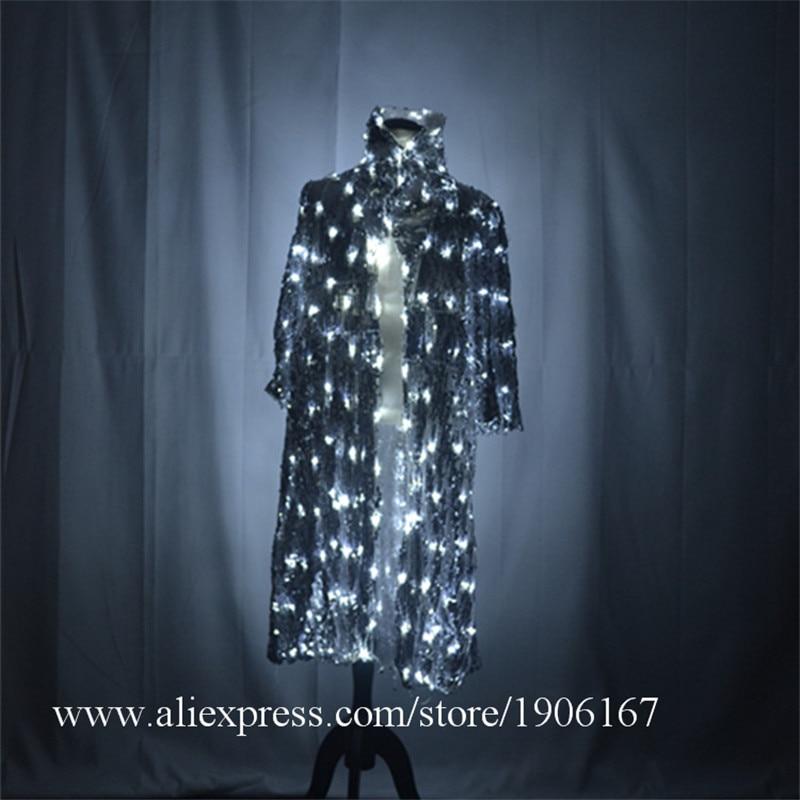 Lumière Led salle de bal danse cape led robe lumineuse dj costumes scène porte spectacle veste magicien hôte fête Led vêtements