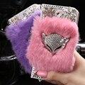 Moda Inverno Luxo Cabelo Pele PU de Couro Do Caso Da Aleta para a maçã slot para cartão de iphone 5 5s capa bling diamante fique stent shell saco