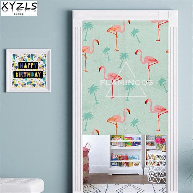 XYZLS Europe Flamingo Door Curtain Cotton Linen Popular Door Valance Printed Window Screens For Kitchen/Living Room