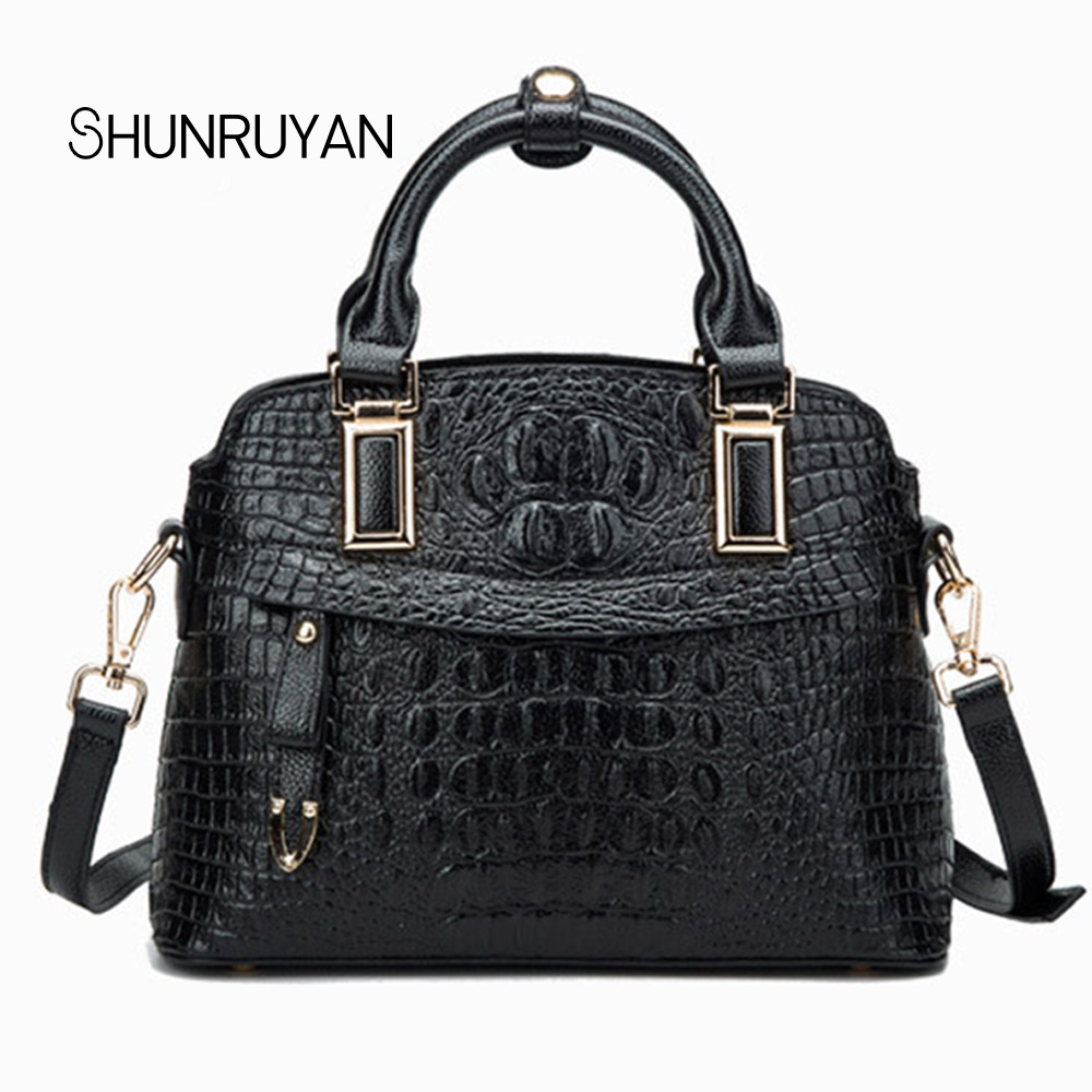 SHUNRUYAN Fashion Brand Design Genuine Leather Women Casual Tote Bag Large Capacity Business Bag Alligator Shoulder Bags shunruyan 2018 brand design genuine leather women bag crossbody bag shoulder bag chain fashion party bag