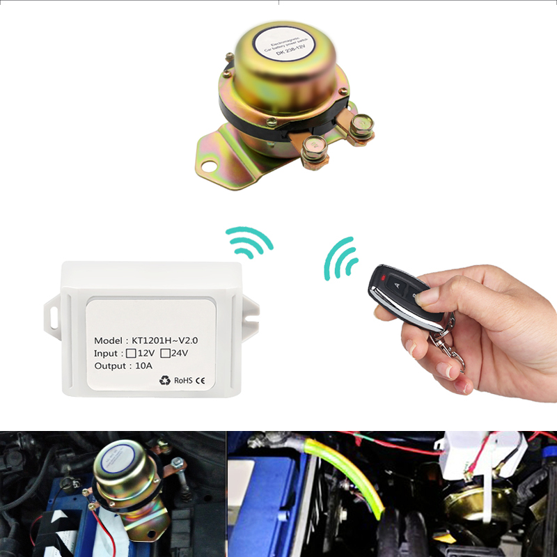 Car Battery Terminals Connector Wireless Remote Control Electromagnetic Solenoid Cut Off Disconnect 12V Battery Switch Auto