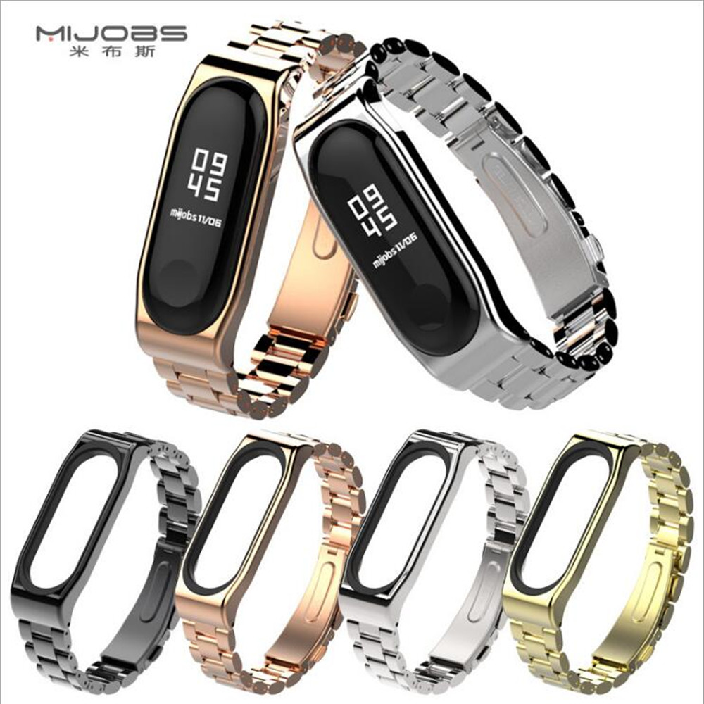 mijobs New product Metal Mi Band 3 Strap Screwless Stainless Steel Bracelet Wristbands Replace Accessories For Xiaomi Mi Band 3