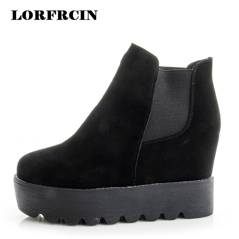 LORFRCIN Women Boots Height Increasing Ankle Boots High Top Genuine Leather Platform Boots Black Brown Wedges Shoes Woman 2017 2017 women warm boots genuine leather height increasing cut out flat platform short plush women ankle boots