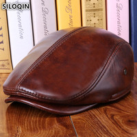 SILOQIN Thicken Warm Genuine Leather Hat Winter Men's Beret Cowhide Leather Earmuffs Hats NEW Brands Dad Cap Gorro De Invierno
