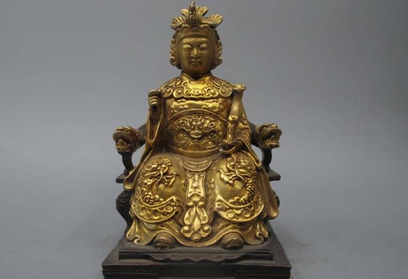 China Pure Bronze 24k gold Dragon phoenix Queen Mother empress Buddha statue