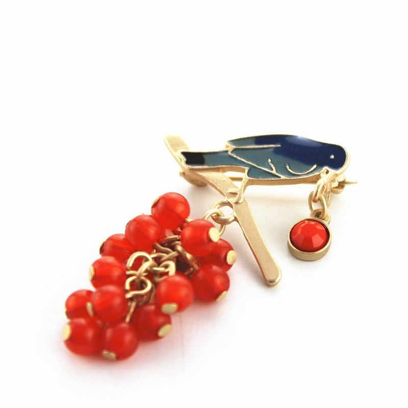 จัดส่งฟรีแฟชั่นผู้หญิงใหม่เครื่องประดับอารมณ์นกสังเคราะห์รอบสีแดงลูกปัดสาวสาวเข็มกลัดเข็มอุปกรณ์