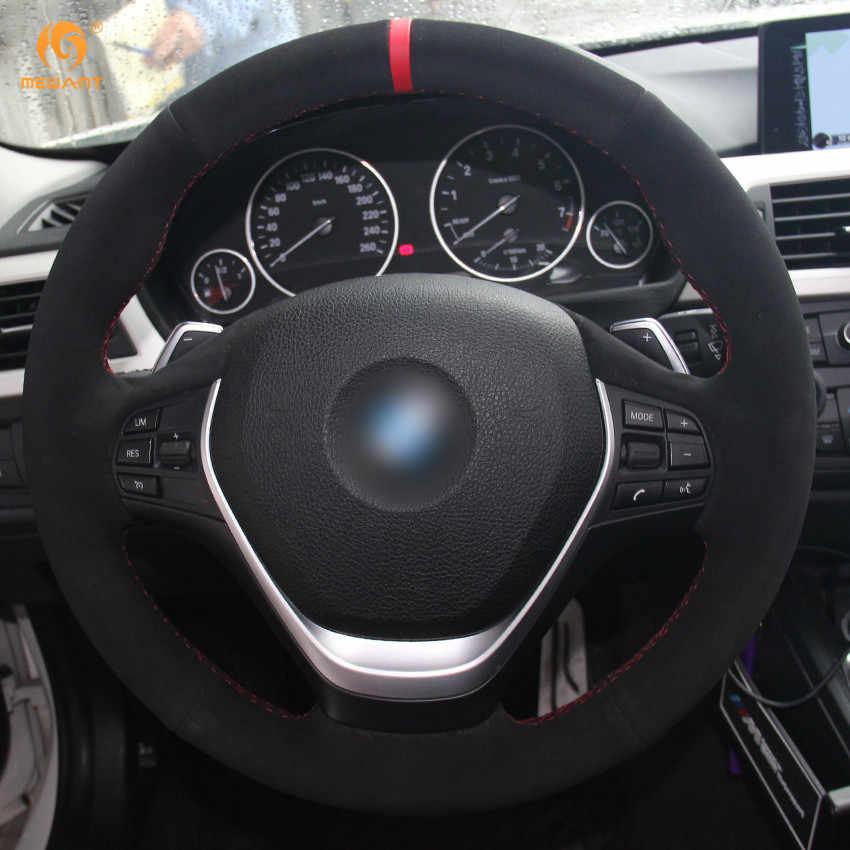 MEWANT Đen Da Lộn Đỏ Bút Xe Bọc Vô Lăng cho XE BMW F20 2012-2018 F45 2014-2018 F30 f31 F34 2013-2017 F32 F33 F36
