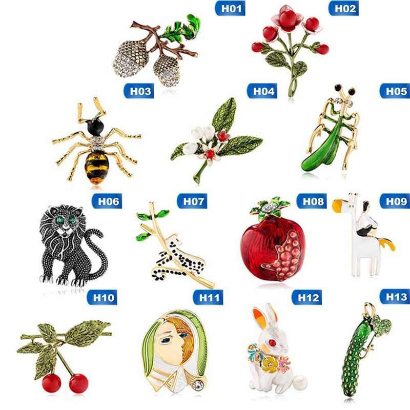 น่ารักผักสีเขียวเคลือบผลไม้ทับทิมสัตว์ Lion Bee Brooches สำหรับผู้หญิงผู้ชาย Punk สไตล์เข็มกลัดเคลือบ Pins