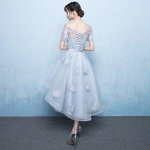 Image 4 - Ruthshen 2018 חדש הגעה גריי סימטרי שמלות נשף גבוהה נמוך אפליקציות Vestidos דה נשף מסיבת שמלות עם שרוולים קצרים