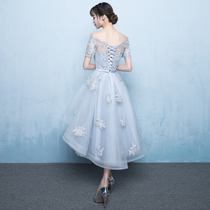 Image 4 - ruthshen 2018 New Arrival Grey Asymmetrical Prom Dresses High Low Appliques Vestidos De Prom Party Gowns With Short Sleeves
