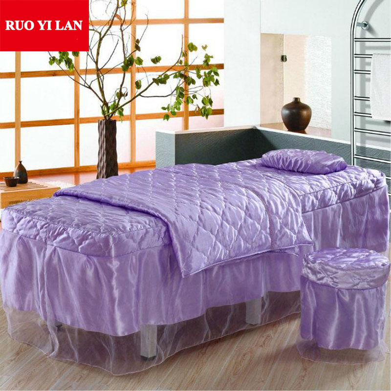 four piece solid satin quilted beauty bed set duvet cover bed skirt pillowcase desk cover bed desk set